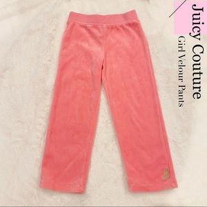 Juicy Couture Girl Pink Velour pants Size 4T